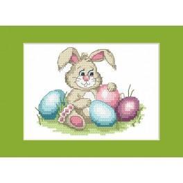 Zahlmuster online - Osterkarte - Lustiger Hase