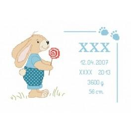W 8635-02 Zahlmuster online - Geburtsschein mit Häschen