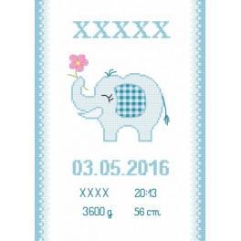 Zahlmuster online - Geburtsschein mit Elefantchen