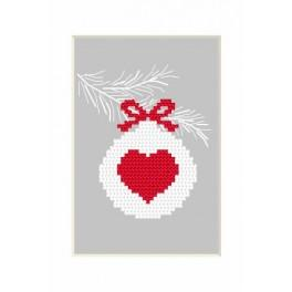 Zahlmuster online - Karte - Weihnachtskugel mit Herz