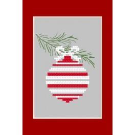 Zahlmuster online - Karte - Weihnachtskugel auf einem Zweig