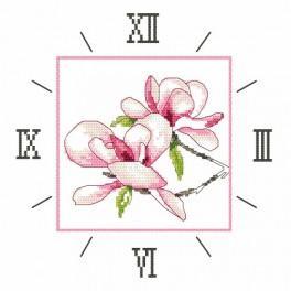 Zahlmuster online - Uhr mit Magnolie