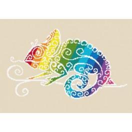 Zahlmuster online - Regenbogenfarbenes Chamäleon