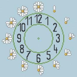 Zahlmuster online - Uhr mit Gänseblümchen