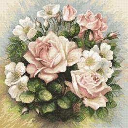 Zahlmuster online - Pastellfarbene Rosen