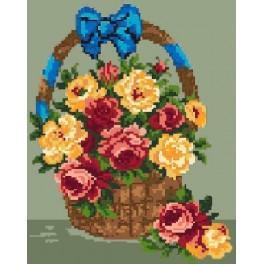 Ein Korb mit Rosen - Gobelin