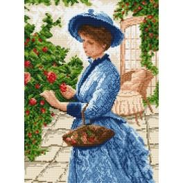 4078 Dame beim Blumenpflücken - Gobelin