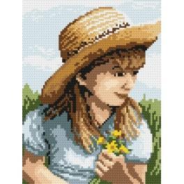 4516 Das Mädchen mit der Blume - B. Sikora-Malyjurek - Gobelin