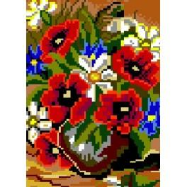 Mohnblumen in der Vase - Gobelin