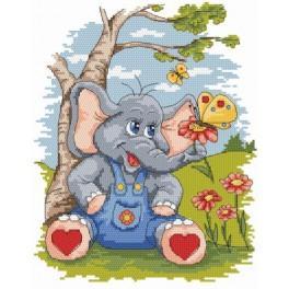 Elefantchen und Schmetterling - Gobelin