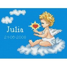 Meine Geburt- Engelchen auf einer Wolke - Gobelin