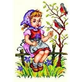 Mädchen mit einem Vogel - Gobelin
