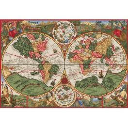 K 33047 Antike Weltkarte - Gobelin