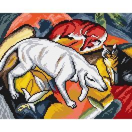 K 4313 F. Marc - Hund, Fuchs und Katze - Gobelin