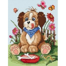 K 4823 Hund mit einer kleinen Schüssel - Gobelin