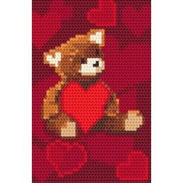 K 8406 Der kleine Bär mit einem Herzen - Gobelin