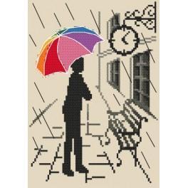 Bunter Regenschirm - Warten - Gobelin