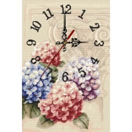 Zahlmuster online - Uhr mit Hortensien
