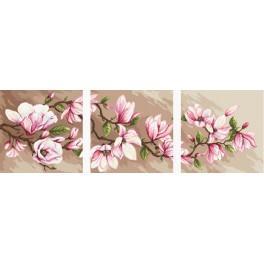 Zahlmuster online - Triptychon mit Magnolien