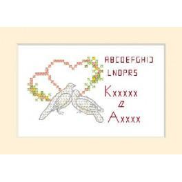 Zahlmuster online - Hochzeitskarte - Zwei Taube