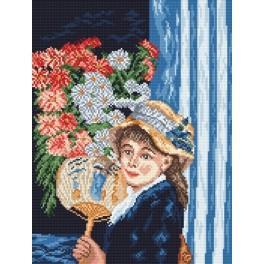 Zahlmuster online - Frau mit Fächer - A. Renoir