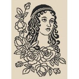 Zahlmuster online - Dame mit Rosen