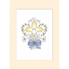 Zahlmuster online - Osternkarte - Kreuz mit dem Herzen