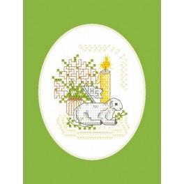 Zahlmuster online - Osternkarte - Lämmchen mit Fähnlein