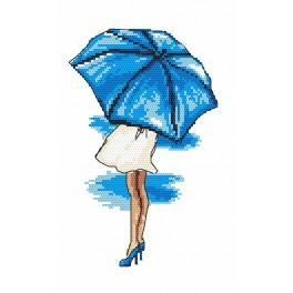 Zahlmuster online - Blauer Regenschirm