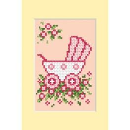 Zahlmuster online - Geburtskarten - Rosa Kinderwagen