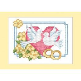 Zahlmuster online - Hochzeitskarte - Zwei Taube - B. Sikora-Malyjurek