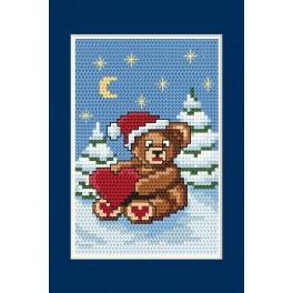 Zahlmuster online - Weihnachtskarte - Bärchen