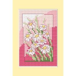 Zahlmuster online - Geburtstagskarte- Weiße Blumen