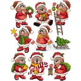 Zahlmuster online - Christbaumschmuck - Weihnachtsbärchen