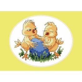 Zahlmuster online - Osternkarte- Küken