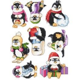 Zählmuster online - Fröhliche Pinguine