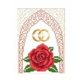 Zählmuster online - Hochzeitskarte – Goldene Eheringe