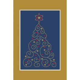 Zahlmuster online - Weihnachtskarte - Weihnachtsbaum mit Sternchen