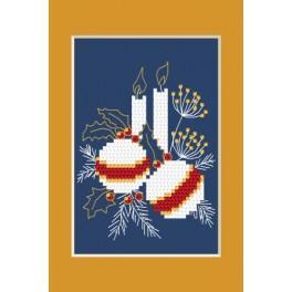 Zahlmuster online - Weihnachtskarte - Weihnachtskugeln