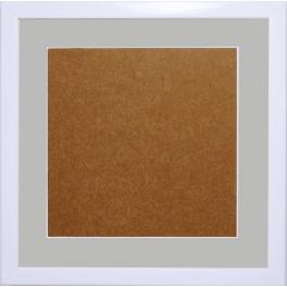 Holzrahmen - weiße Farbe - graues Passepartout (21x21cm)