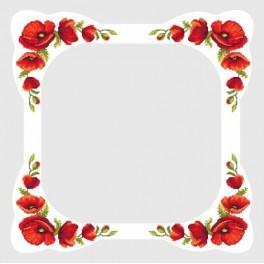Zahlmuster online - Tischdecke mit Mohnblumen