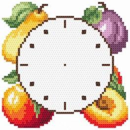 Zahlmuster online - Uhr mit den Früchten
