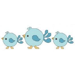 Zahlmuster online - Lätzchen - blaue Vögel