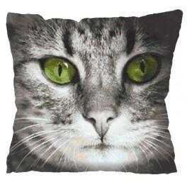 Zahlmuster online - Kissen - Katze mit grünen Augen