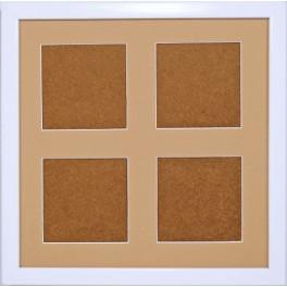 Holzrahmen - weiß - sandfarbenes Passepartout (23,2x23,2cm)