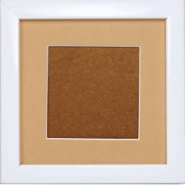Holzrahmen – weiß – sandfarbenes Passepartout (12,7x12,7cm)