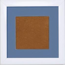 Holzrahmen – weiß – blaues Passepartout (13,2x13,2cm)