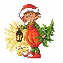 Zählmuster - Weihnachtszwergchen