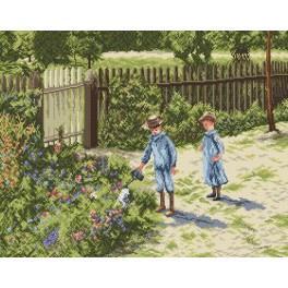 Kinder im Garten - Zählmuster