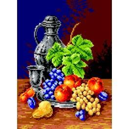 Glas und Obst - Zählmuster
